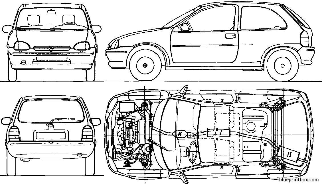 Opel Corsa B 3 Door 1994 - Blueprintbox Com