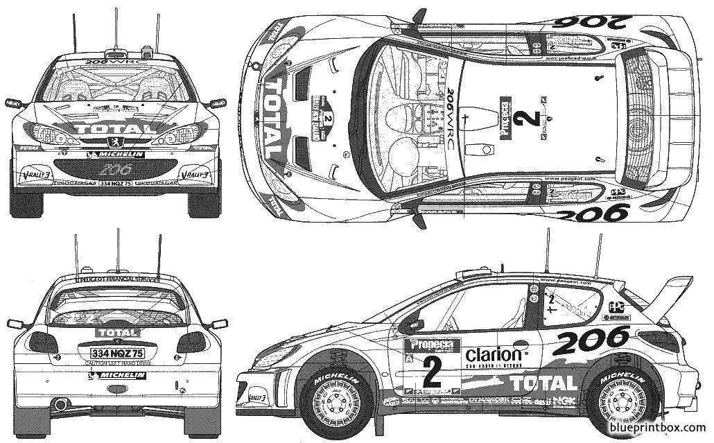 Peugeot 206 Wrc 2002 - Blueprintbox Com
