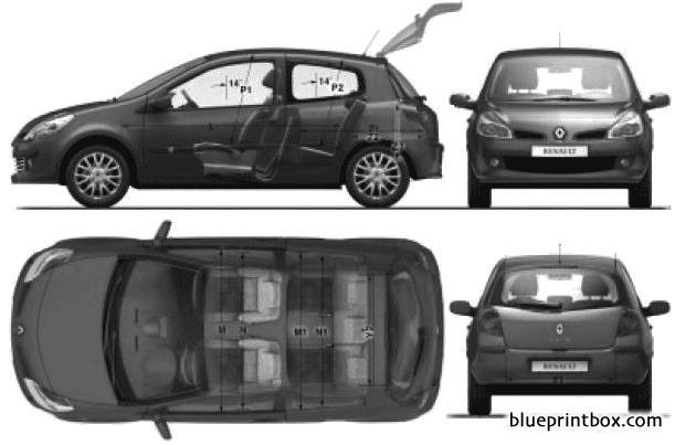 Renault Clio Iii 5 Door 2009 - Blueprintbox Com