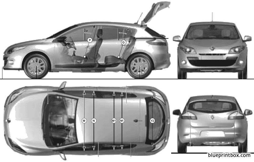 Renault Megane Iii 5 Door 2009 - Blueprintbox Com