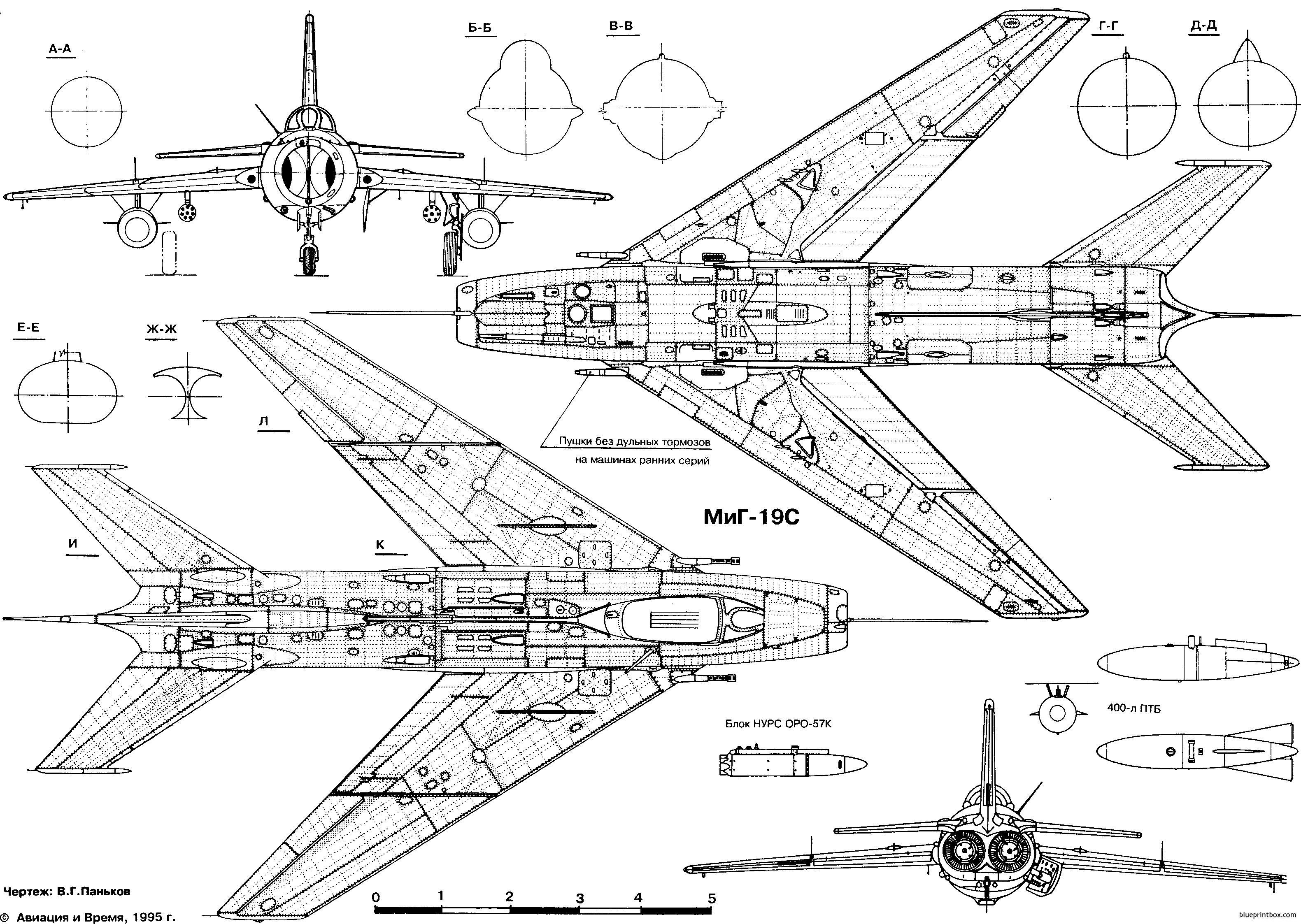 Mikoyan Gurevich Mig 19 3 - Blueprintbox Com