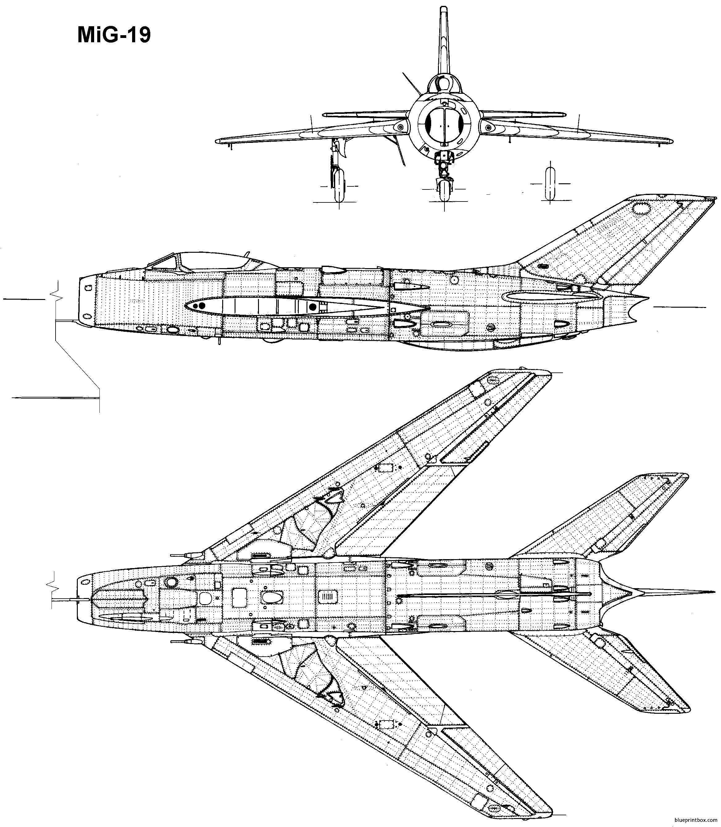 Mikoyan Gurevich Mig 19 8 - Blueprintbox Com