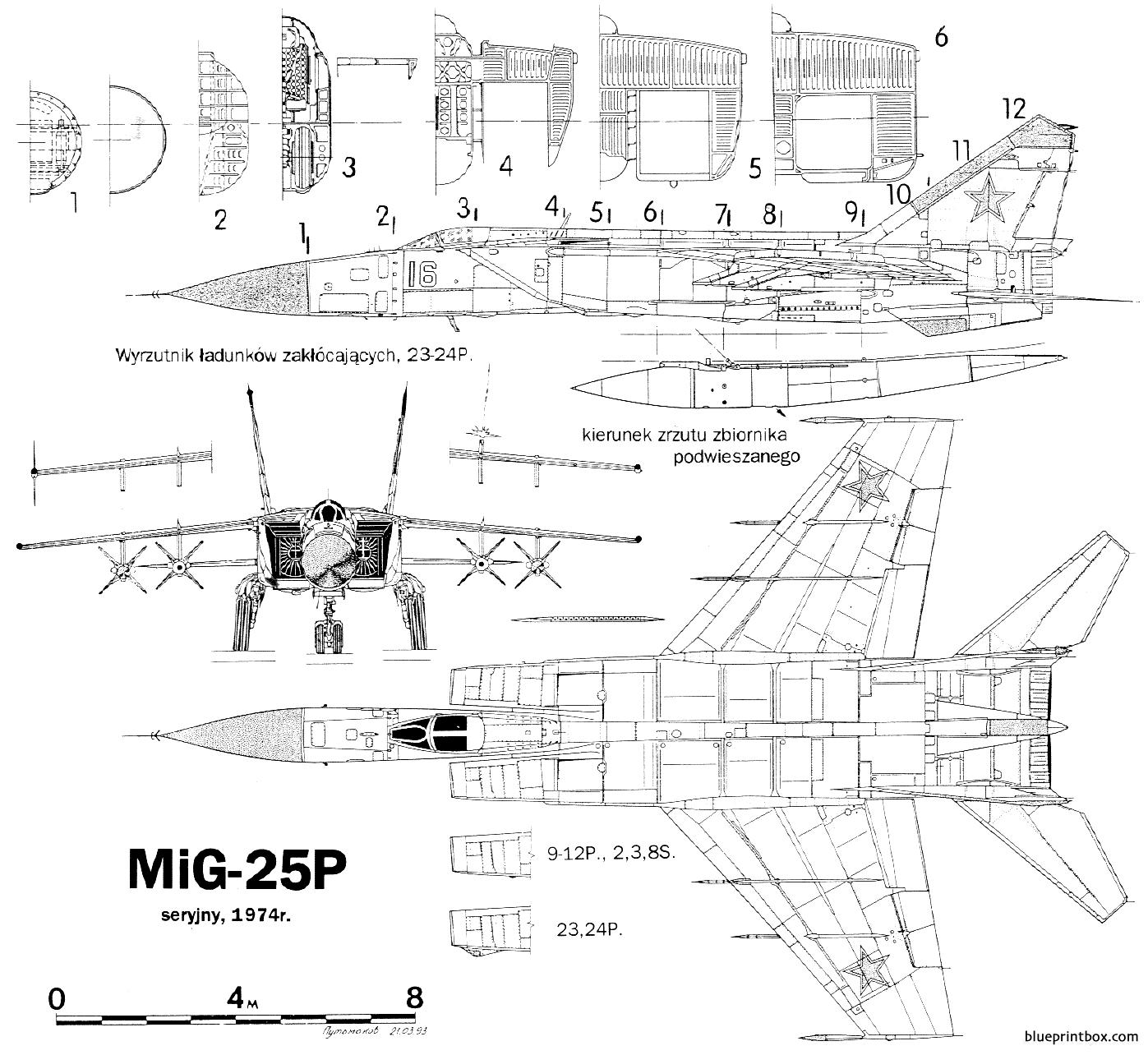 Mikoyan Gurevich Mig 25p 3 - Blueprintbox Com