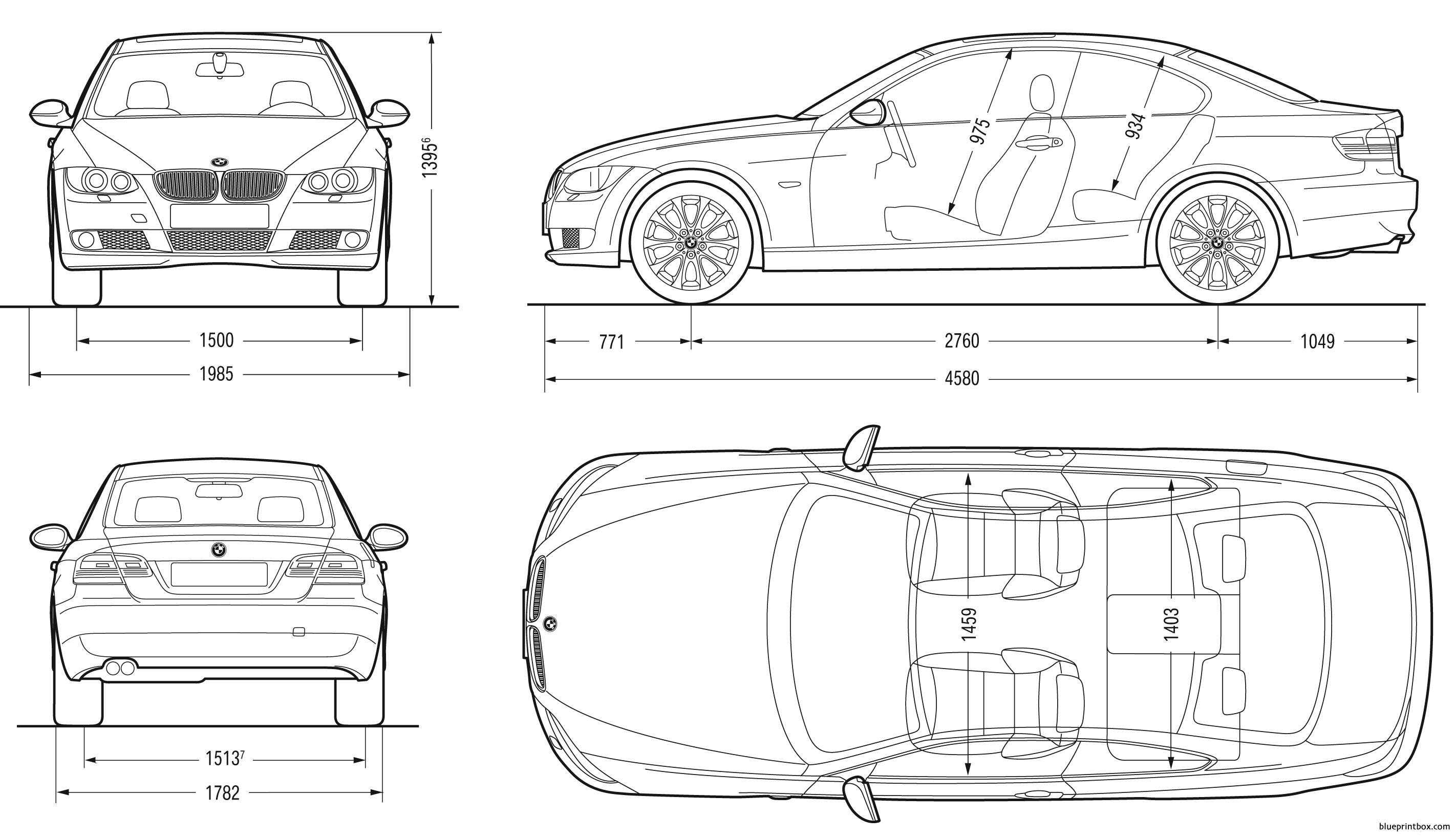Bmw 3 Coupe 2007 E92 - Blueprintbox Com