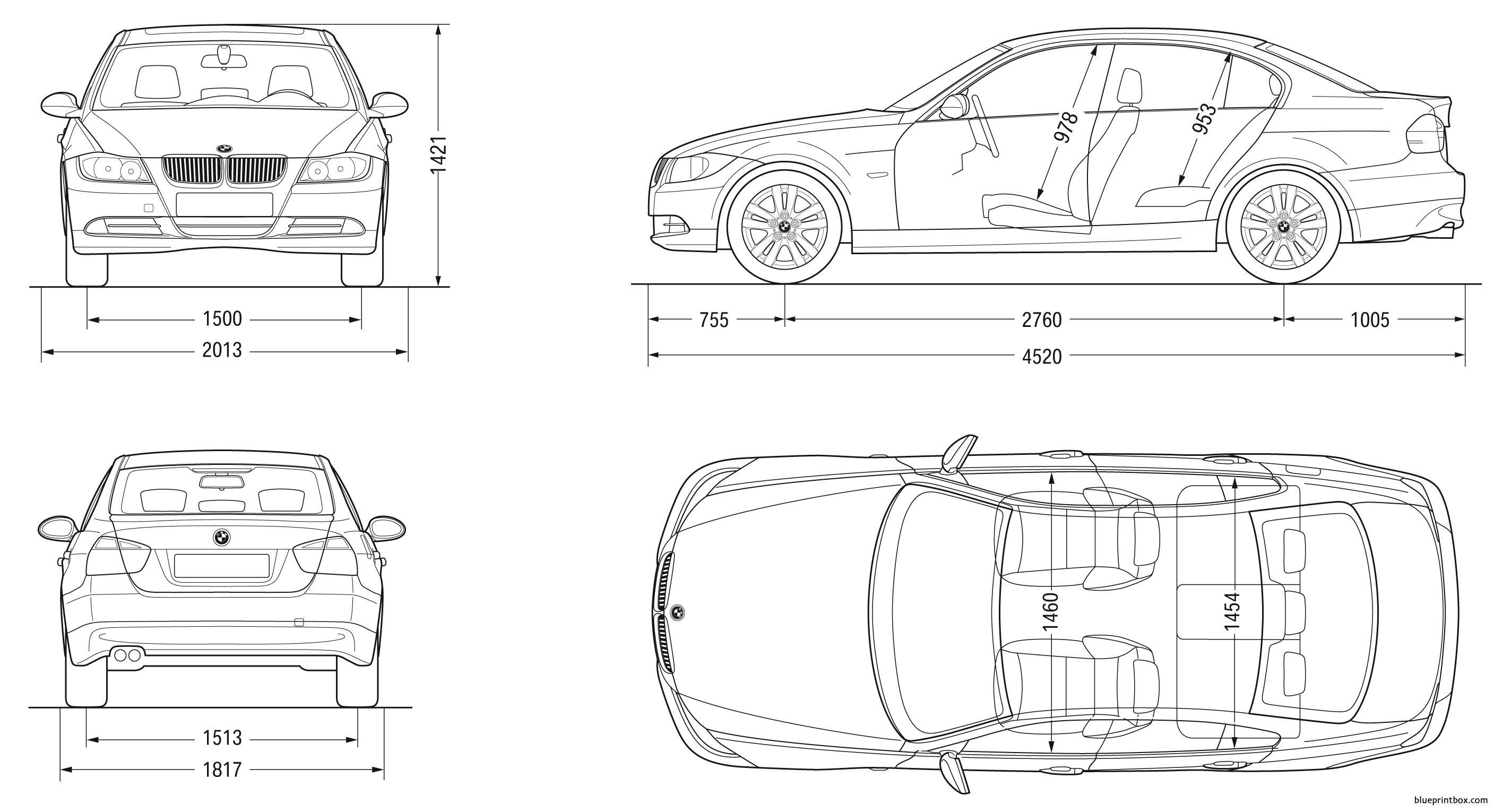Bmw 3 Sedan 2007 E90 - Blueprintbox Com