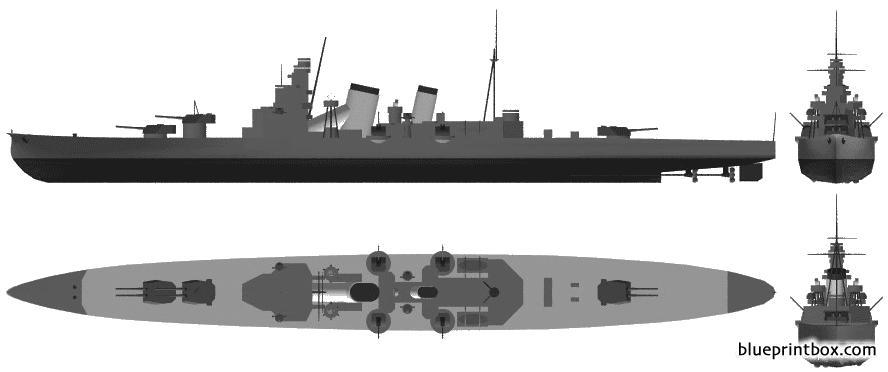 Ijn Aoba 1943 Heavy Cruiser - Blueprintbox Com