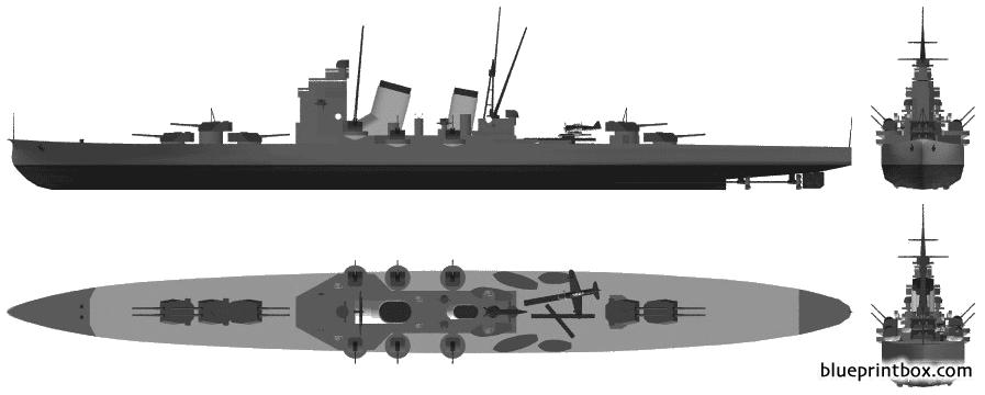 Ijn Nachi 1943 Heavy Cruiser - Blueprintbox Com