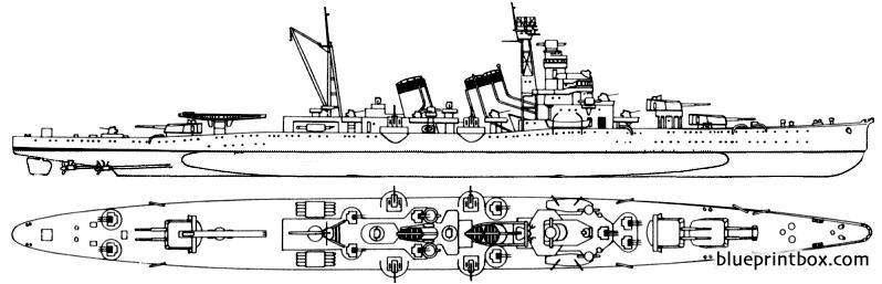 Ijn Kinugasa 1943 Heavy Cruiser - Blueprintbox Com