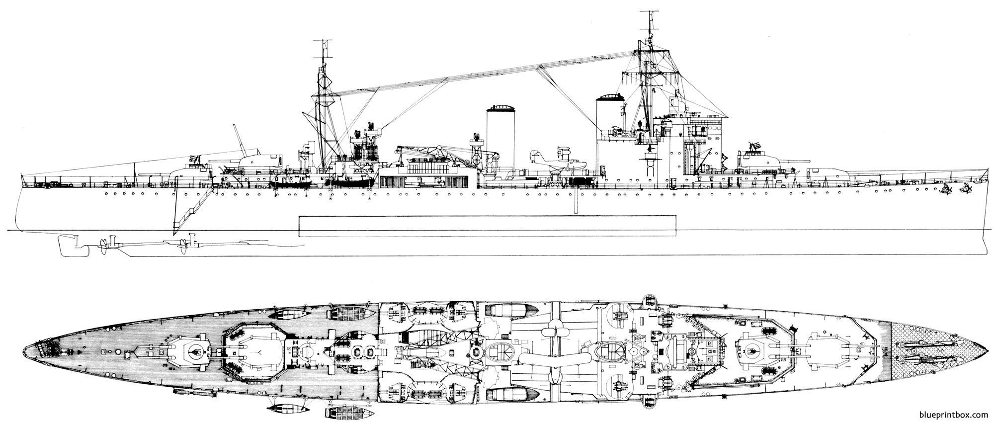 Hms London 1941 Heavy Cruiser - Blueprintbox Com