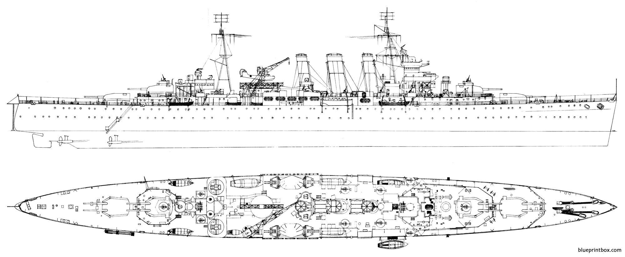 Hms Sussex 1943 Heavy Cruiser - Blueprintbox Com