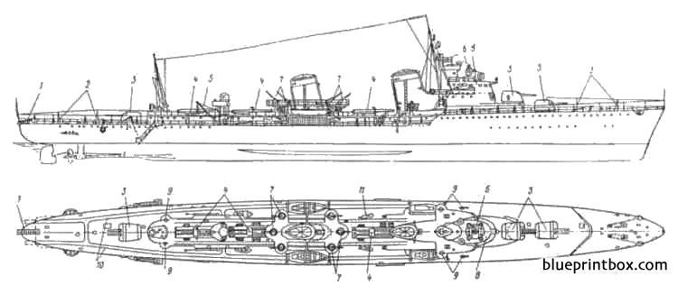Ussr Tashkent 1936 Destroyer - Blueprintbox Com