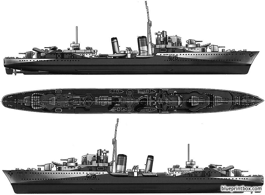 Hms Eskimo 1941 Destroyer - Blueprintbox Com