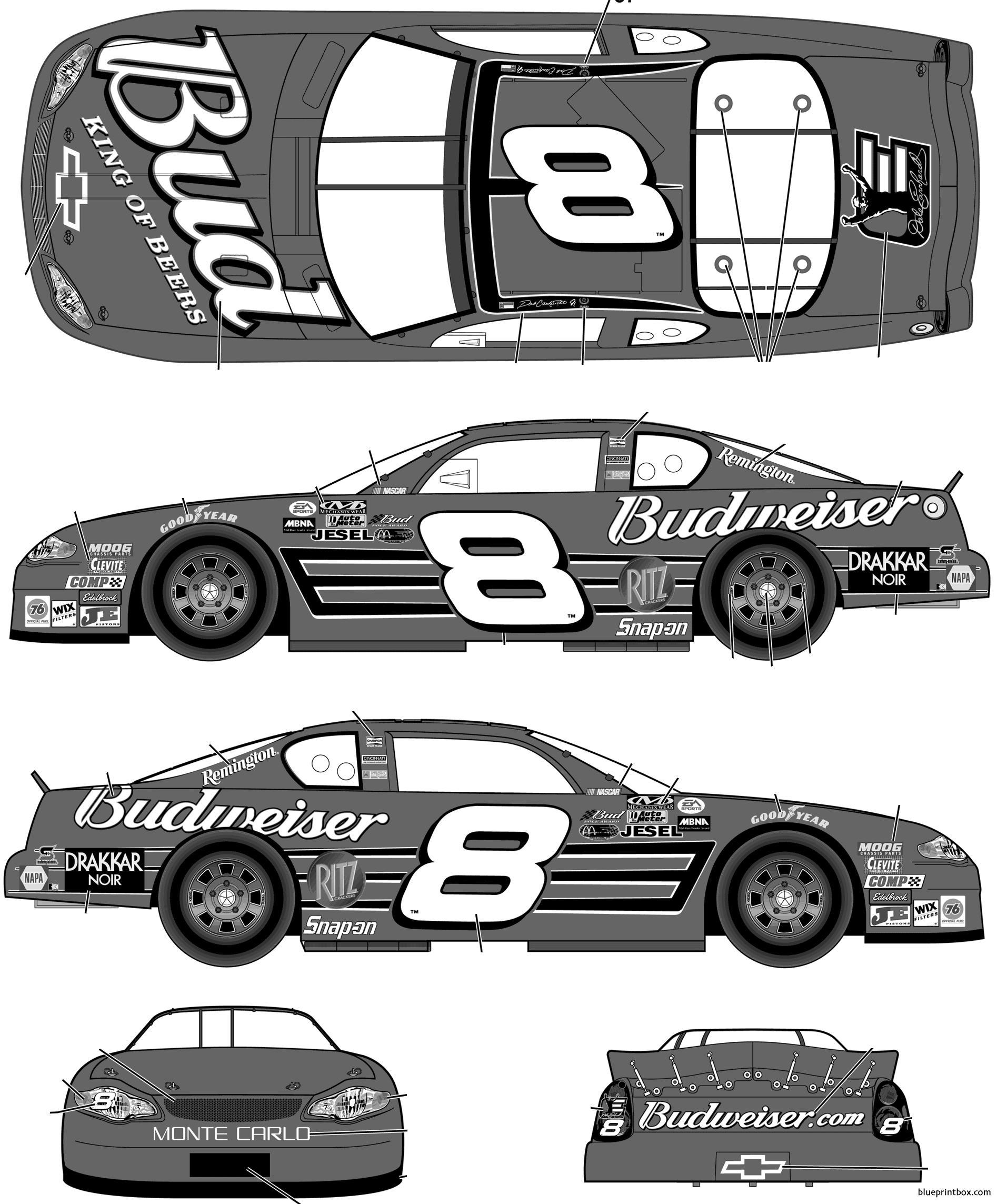Chevrolet Monte Carlo 2003 No8 Dale Earnhardt Jr Budweiser