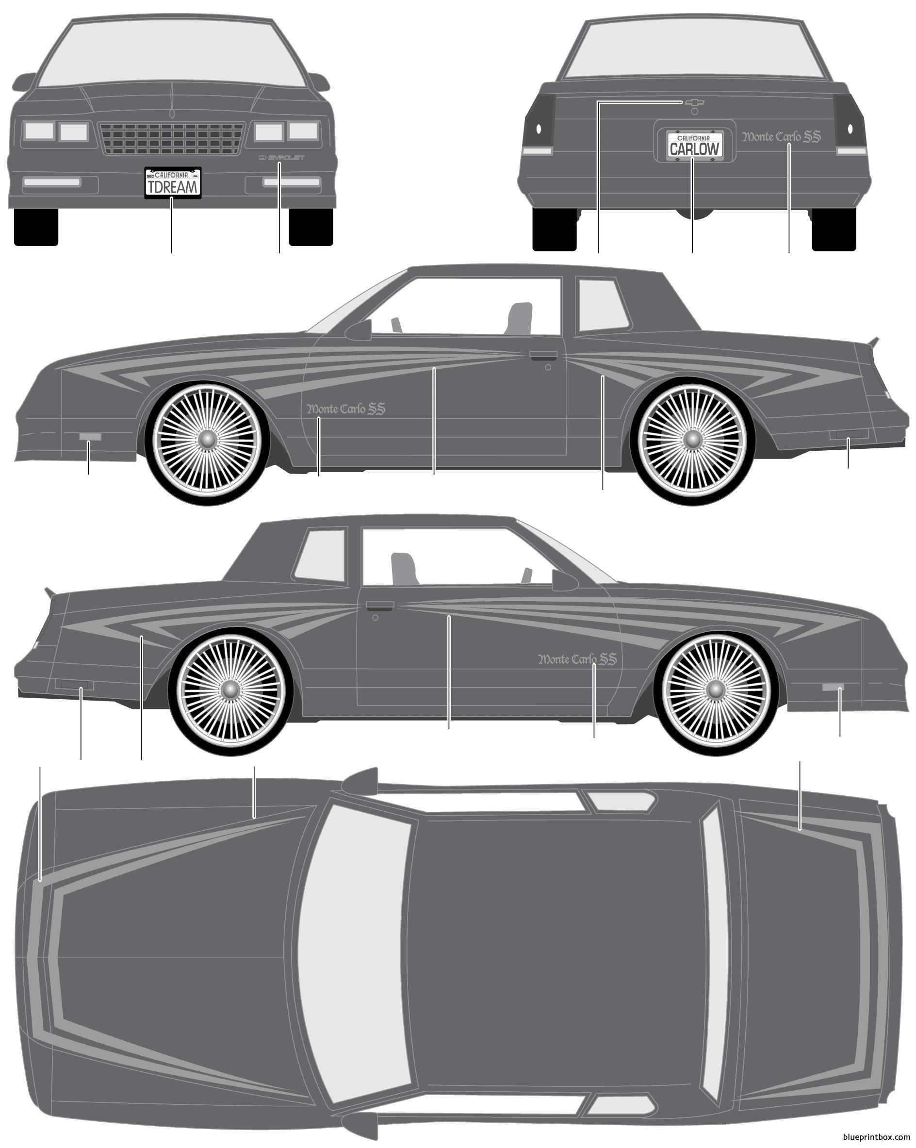 Chevrolet Monte Carlo Ss 1986 - Blueprintbox Com