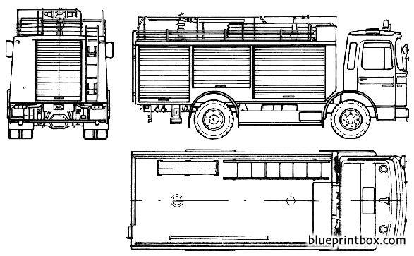 Man 14192 F 35 Fire Truck 1985 - Blueprintbox Com