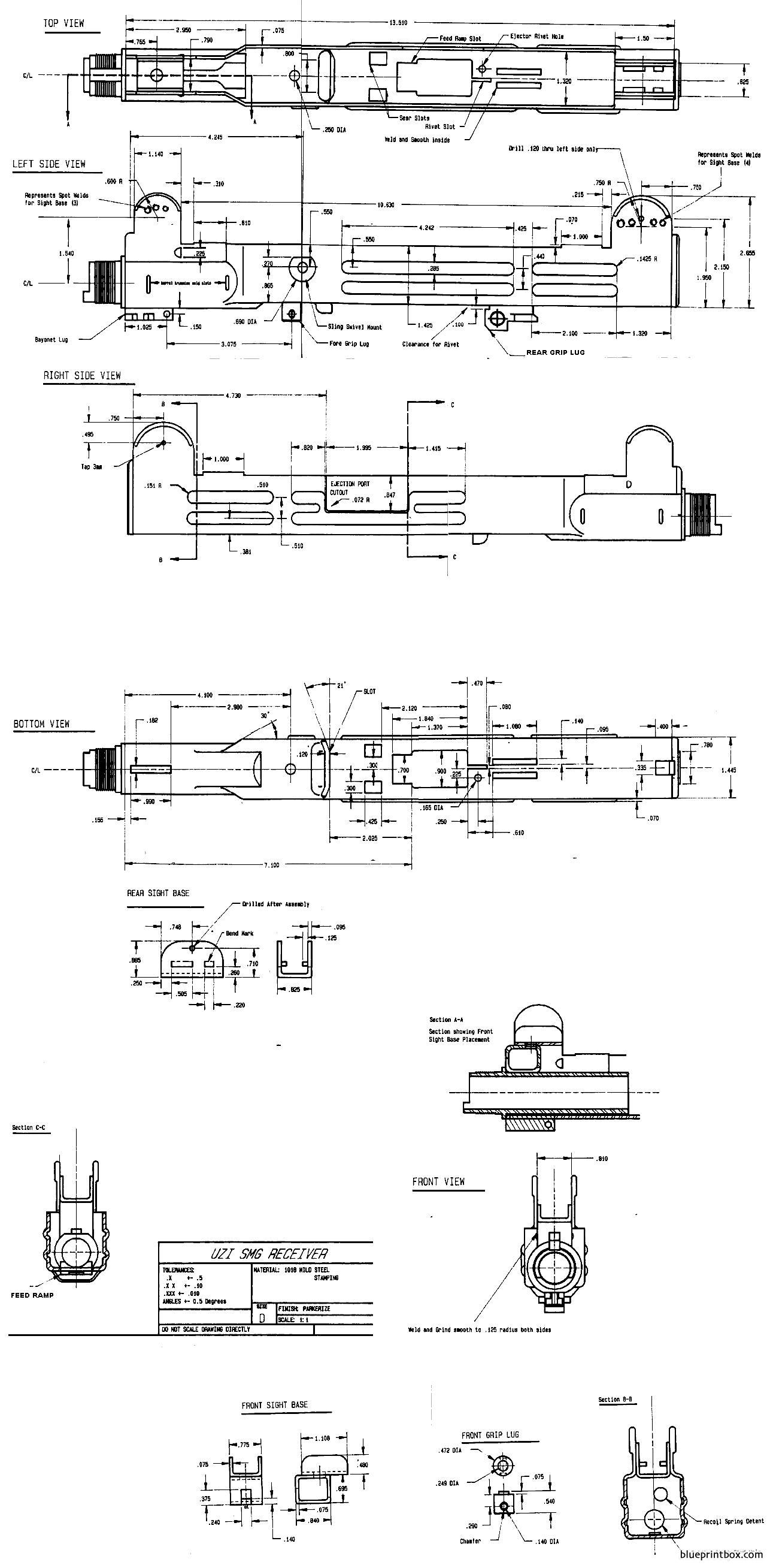uzi receiver construction plan - BlueprintBox.com - Free Plans and on akm schematic, tavor schematic, fn minimi schematic, desert eagle schematic, pistol schematic, m1911 schematic, taser schematic, jericho 941 schematic, chainsaw schematic, amd 65 schematic, ar-15 schematic, glock schematic, revolver schematic, m14 schematic, makarov schematic, m4 schematic, marlin model 60 schematic, beretta 92 schematic, winchester schematic, fal schematic,