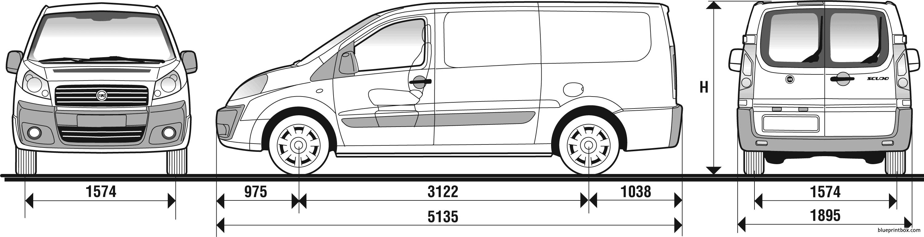 Fiat Scudo Panelled Lwb Van 2007 - Blueprintbox Com
