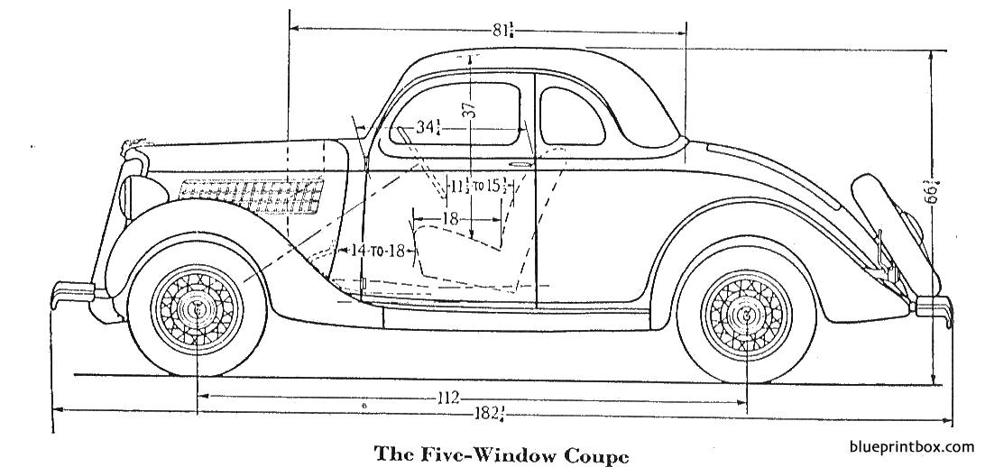 Ford 5 Window Coupe 1935 - Blueprintbox Com