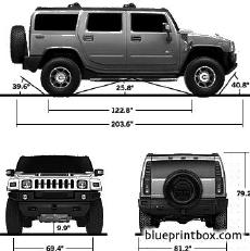hummer h2 back front and side view